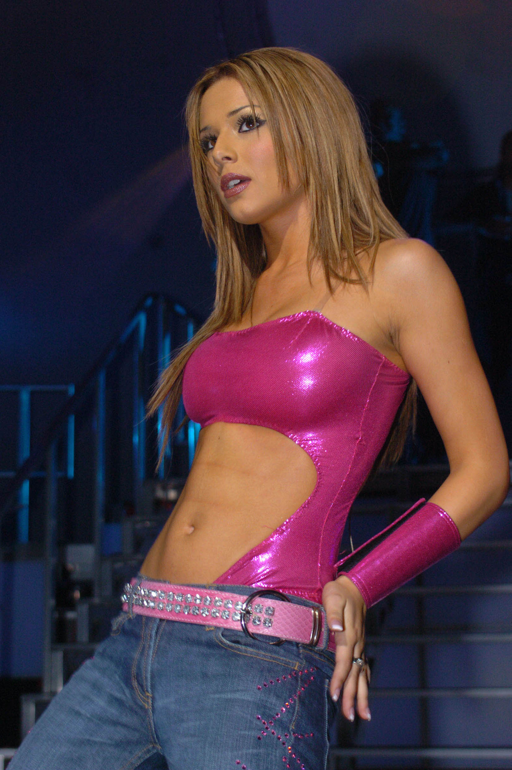 Cheryl Cole Stomach in a hot pink shirt