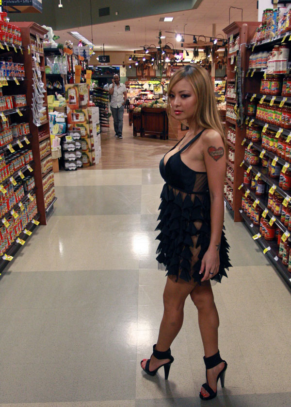 tila tequila in a slutty see thru skirt and thong