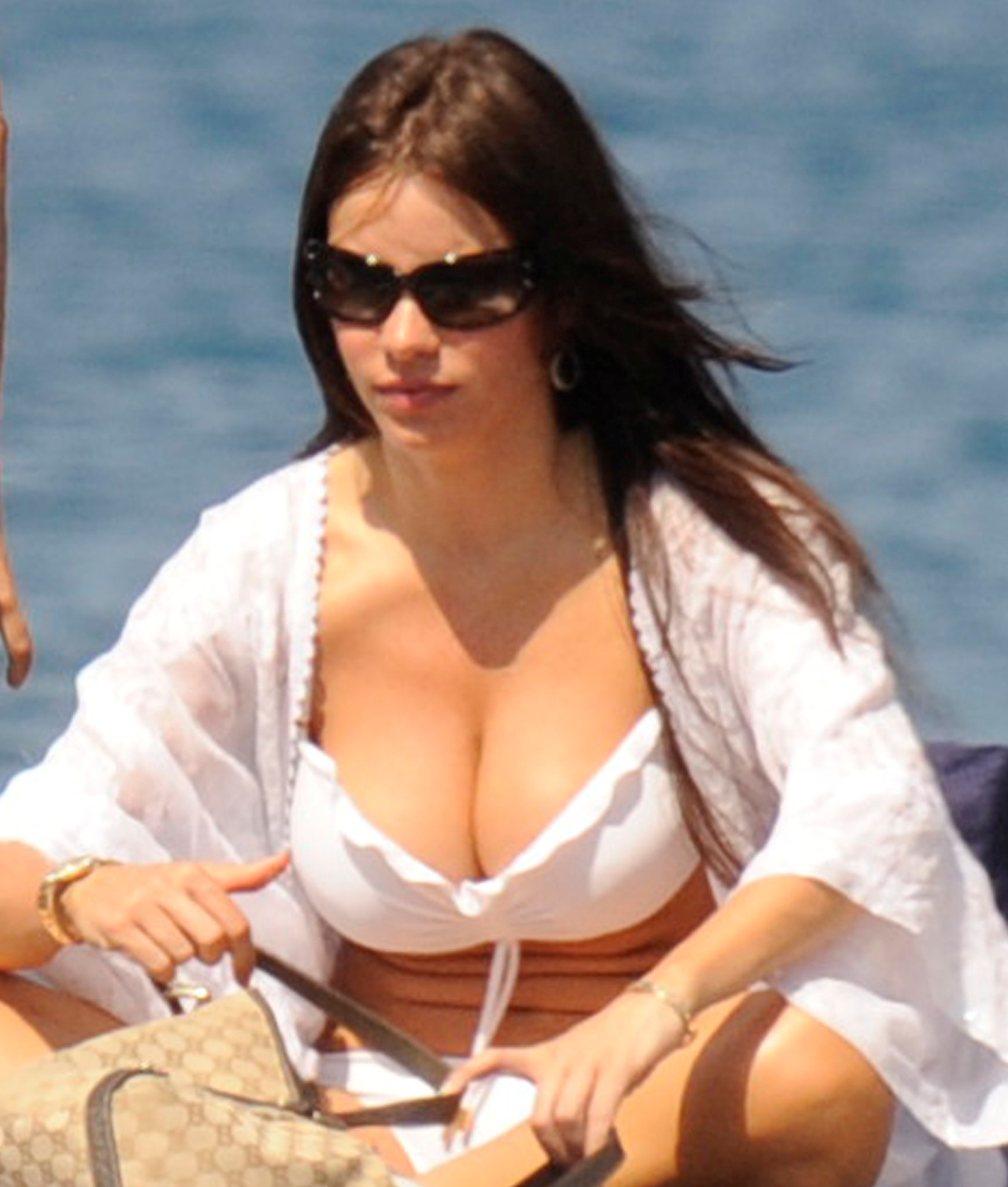 sofia vergara big breasts swimsuit Sofia Vergara Bust Out Her White Bikini!