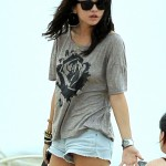 selena gomez shorts having a panty slip
