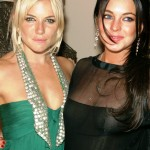 linday lohan and sienna miller in see thru dresses