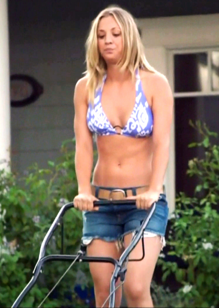 kaley cuoco tits mowing a lawn in a bikini