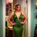 kaley cuoco green dress on the big bang theory