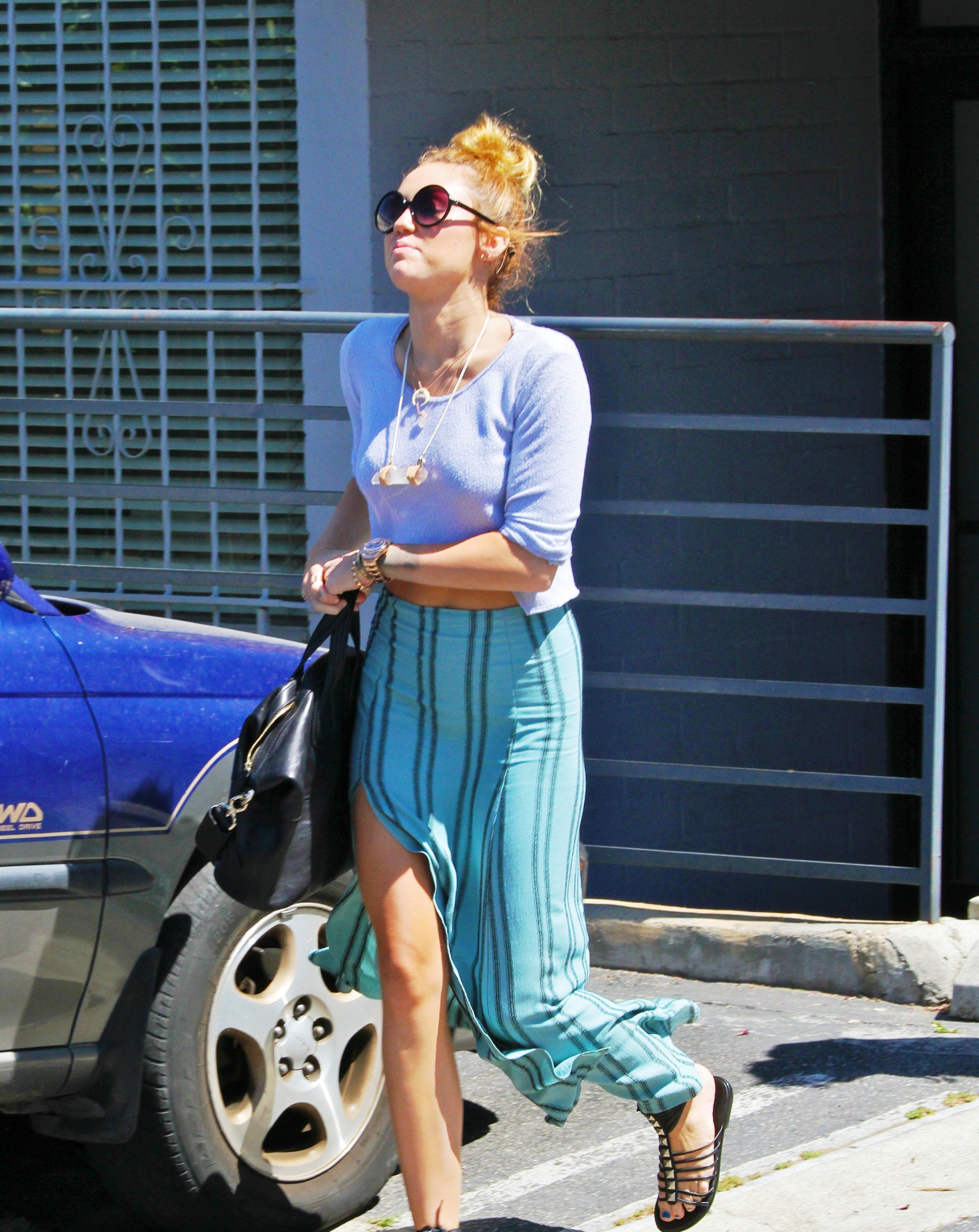 Miley Cyrus Hot Dress Out And About In Various