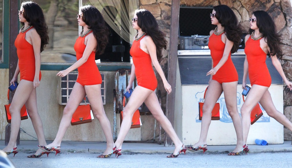 selena gomez legs in red tight dress