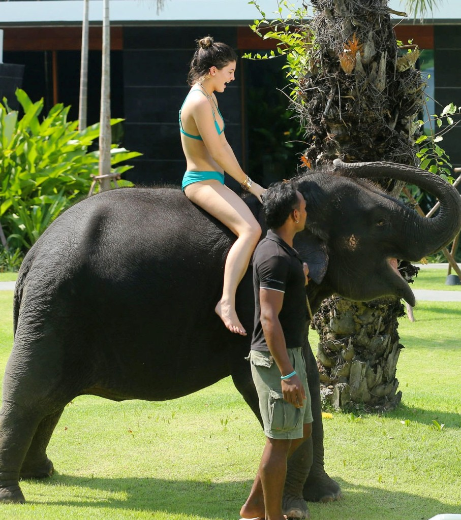 kylie jenner riding elephant 907x1024 Kylie Jenner Leads The Pack In A Bikini, On An Elephant